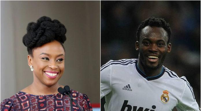 player michael Essien and Chimamda Ngozie Adichie